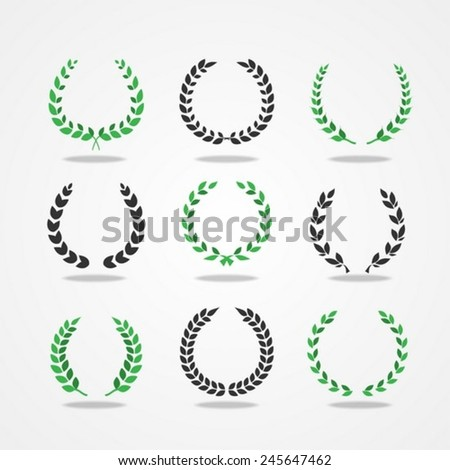 Set from black and green laurel wreath on the white background - stock vector