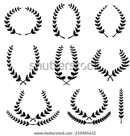 Set from black laurel wreath - stock vector