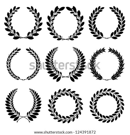 Set from  black laurel wreath on the white background - stock vector