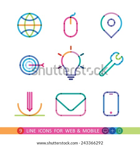 set from 9 color universal icons for web and mobile - stock vector