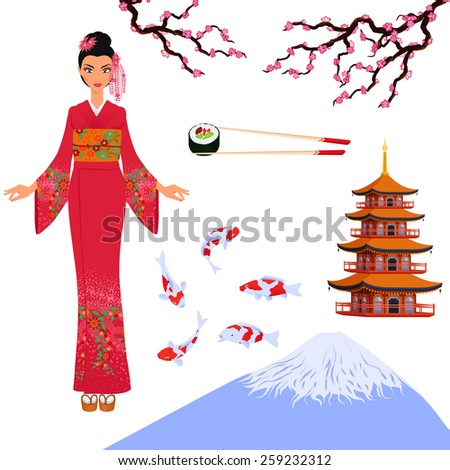 Set from elements of traditional Japanese culture - girl in kimono, pagoda, sakura. For tourist booklets or sushi bars. Cartoon color isolated vector. - stock vector