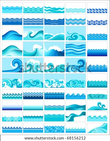 Set from fifty topics with stylized waves - stock vector