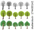 Set from five trees in three variants, with the different types of foliage. - stock vector