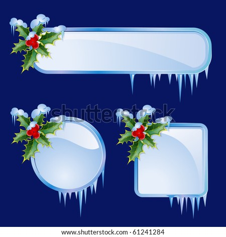 Set from  frames with berries and icicles - stock vector