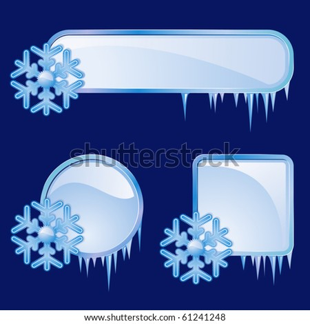 Set from  frames with blue snowflakes - stock vector