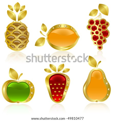 Set from  gold fruit on the white background