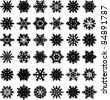 Set from 36 original snowflakes - stock vector