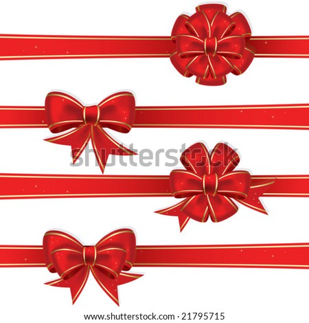 Set from red christmas bows - stock vector