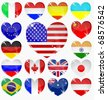 set from the hearts of flags of the world - stock vector
