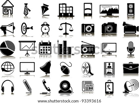 Set from 35 (Thirty five) web icons - stock vector