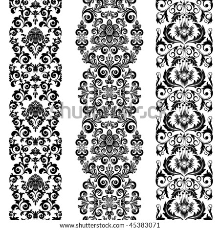 Set from three black and white borders - stock vector