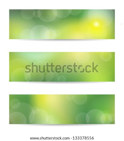 Set from three green banners. EPS10 transparency, blend mode, mesh used - stock vector