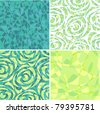 Set from turquoise and light green seamless a background with stylized flowers - stock vector