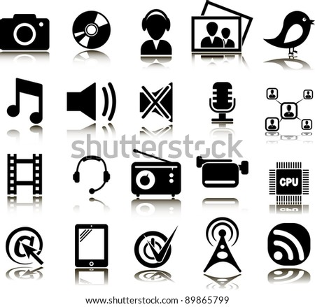 Set from twenty multimedia icons - stock vector
