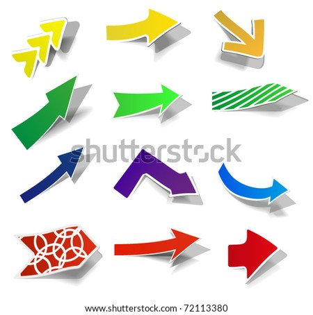 Set from 12 various arrows - stock vector