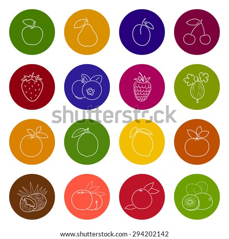 Set Fruit Icons, Colorful Icons of Fruits and Berries,Icons in the Contours, Vector Illustration - stock vector