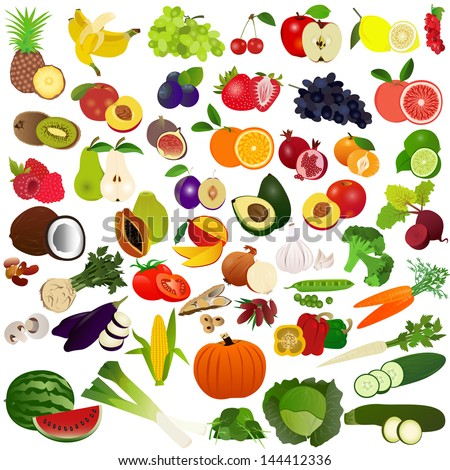 Set fruits and vegies - stock vector