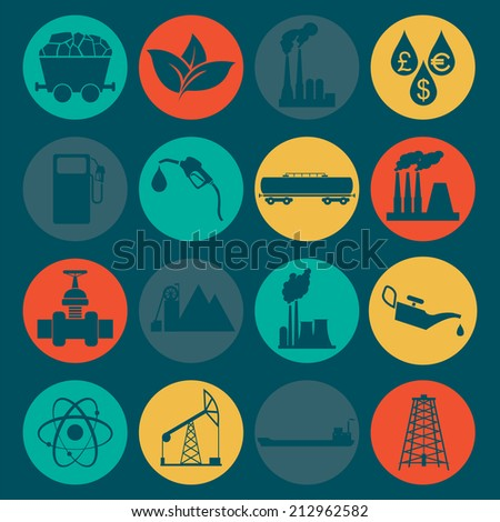 Set 16 fuel and energy icons. Vector illustration - stock vector