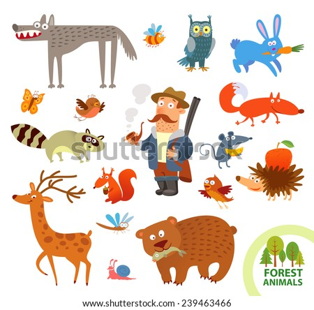 Set funny forest little animals. Funny cartoon character. Hunter, hare, owl, wolf, raccoon, squirrel, deer, bear, hedgehog, mouse, fox. Vector illustration. Isolated on white background - stock vector