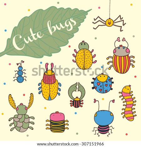Set funny insects. Cartoon character. Isolated on white background. ?nt, spider, caterpillar, beetle and other. - stock vector