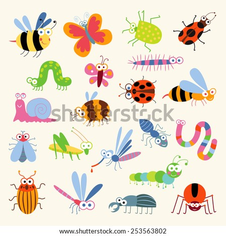 Set funny insects. Cartoon character. Isolated on white background. Wasp, bee, bumblebee, butterfly, worm, caterpillar, beetle, ladybug, grasshopper, fly, mosquito, dragonfly, spider, snail, ant - stock vector