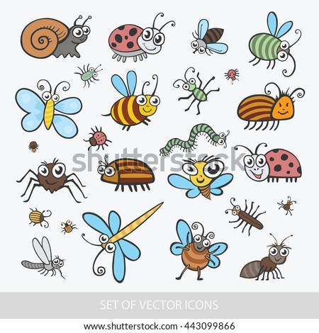 Set funny insects. Isolated on white background. Wasp, bee, bumblebee, butterfly, worm, caterpillar, beetle, ladybug, grasshopper, fly, mosquito, dragonfly, spider, snail, ant,  Colorado beetle - stock vector