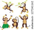 Set funny monkeys set - stock vector