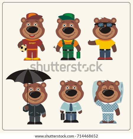 Set funny Teddy Bear in different clothing: sportsman, worker, manager, summer, autumn, sleepwear. Collection isolated Teddy Bears in clothing in cartoon style.