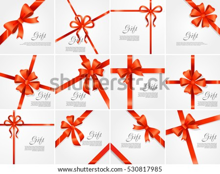 Set gift card vector illustration on 530817985 set gift card vector illustration on white background luxury wide gift bow with red ribbon negle Image collections