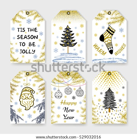 Set gift tags. Holiday label in black white and gold. Abstract grunge patterns. Christmas lettering. Happy New Year! Merry Christmas. Gold lettering design with confetti pattern. Vector design.