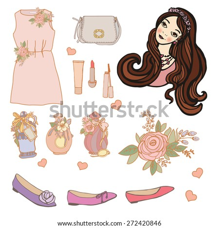 Set girlish stuff. Hand drawing. Illustration for greeting cards, invitations, and other printing and web projects. - stock vector
