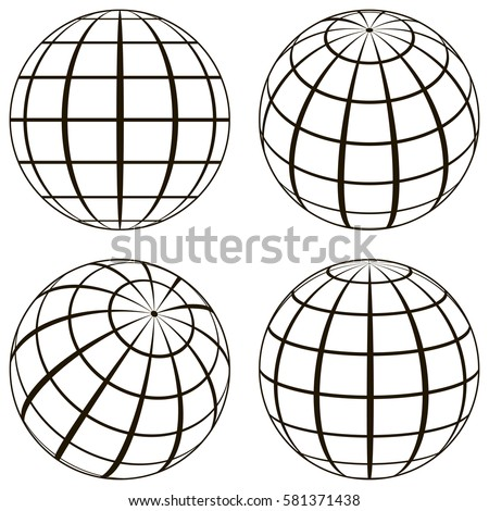 Attractive Set Globe, The Technical Picture Of The Contours Of The Earth, Imaginary  Lines Of