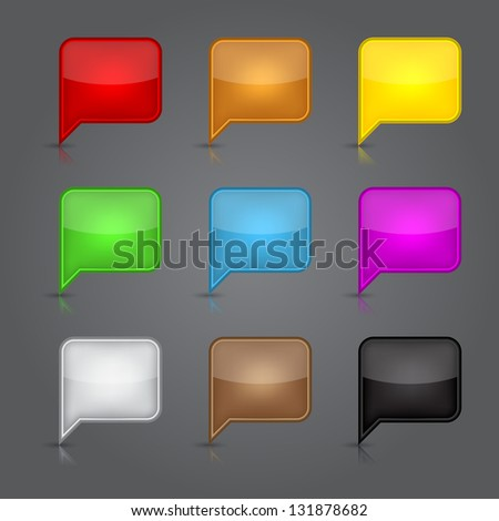 Set glossy empty speech bubble web button. Vector illustration