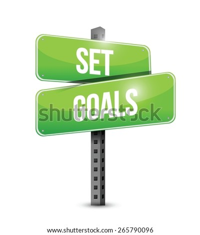 set goals road sign concept illustration design over white - stock vector