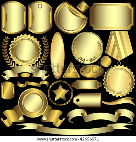 Set golden and silvery labels on a black background (vector) - stock vector