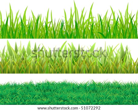 Set grass. Three samples for different uses. Vector image. - stock vector
