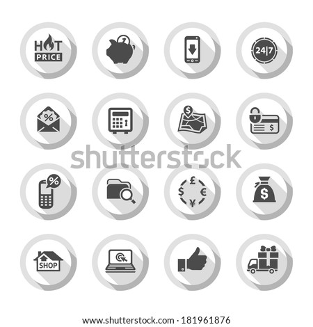 Set gray flat buttons, symbols with shadow. Vector illustration 10eps - stock vector