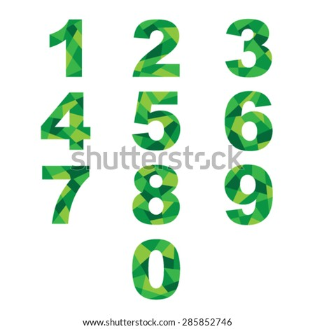 Set  green abstract numbers. - stock vector