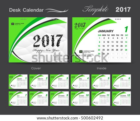 Set Green Desk Calendar  Template Stock Photo Photo Vector