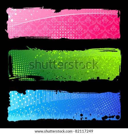 Set grunge color hand banners. Brush abstract backgrounds vector isolated - stock vector