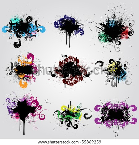 Set grunge design element. Colorful  banner - stock vector