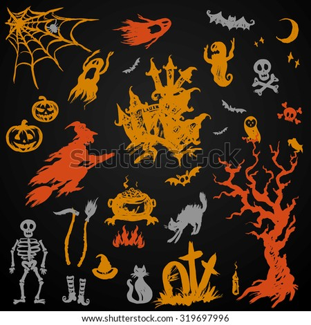 Set Halloween Objects Collection on black ,hand drawn vector - stock vector