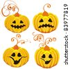 Set Halloween Pumpkins - stock vector