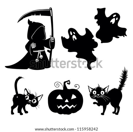 Set halloween silhouettes. Design set of the Halloween elements. - stock vector