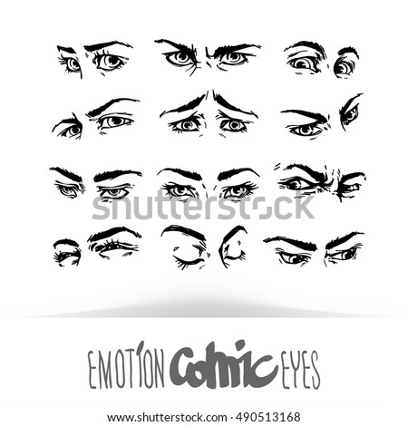 Set hand draw human eyes comic stock vector 490513168 shutterstock set hand draw human eyes in comic style graphic illustration vector isolated various ccuart Gallery