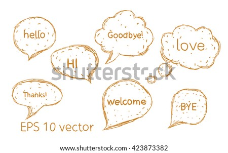 Set Hand drawn doodle speech bubbles with no fill.  - stock vector