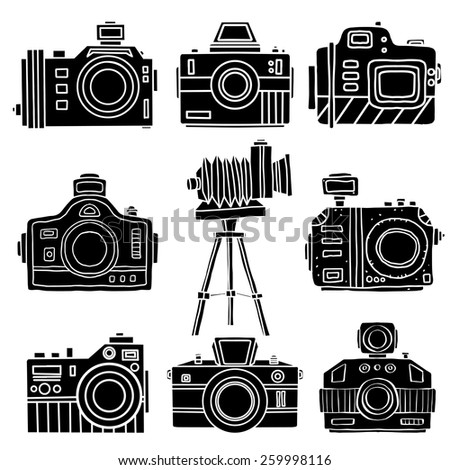Set hand drawn flat icons photo cameras. Black silhouettes isolated on white background. Art logo design - stock vector
