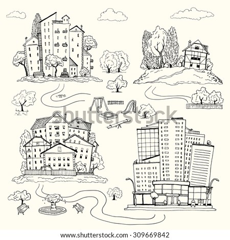 Set hand drawn illustrations of different houses. homes of various architectural styles. silhouettes of different urban landscape and the village - stock vector