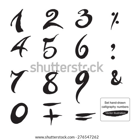 Set Handdrawn Calligraphy Numbers Symbols Watercolor Stock