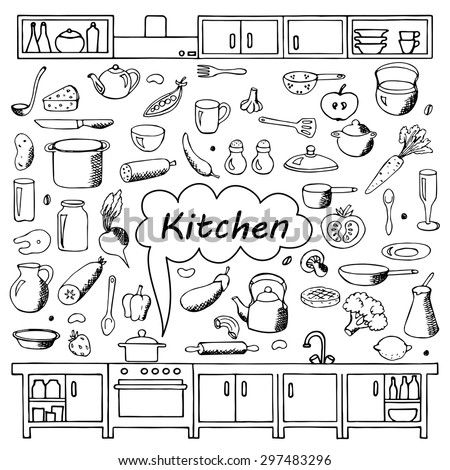 Set Hand Drawn Kitchen Doodles On Stock Vector 297658733 ...